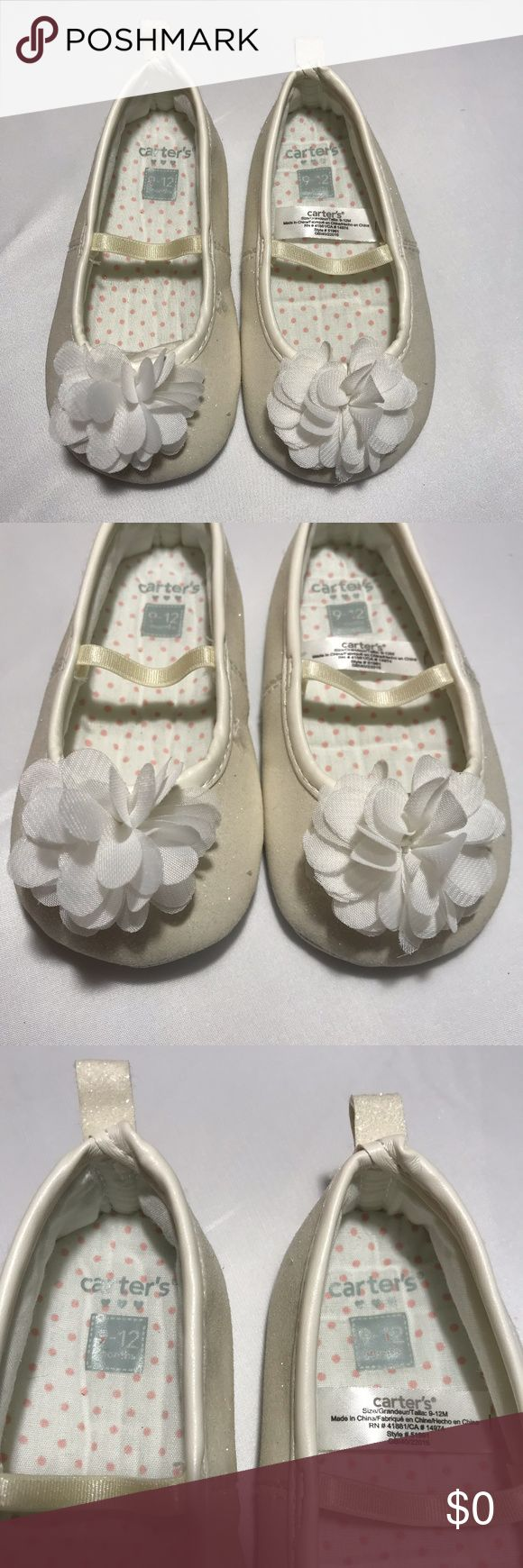 """Carters Slip-on Baby Shoes White Sparkle Flower Girls Carters Slip-on Baby Shoes White Sparkle Flower 9-12m Measurements 5.25"""" Heel to Toe 2.5"""" Wide Excellent Condition no Flaws Carter's Shoes"""