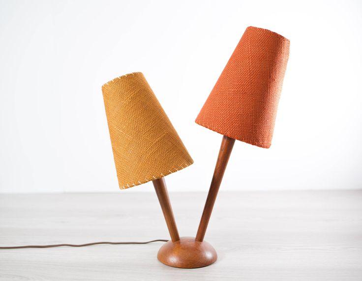 Teak Desk Lamp / Vintage Mid Century Modern Danish Scandinavian Solid Wood Lamp with Original Shades in Burnt Orange and Mustard by secondvoyagevintage on Etsy https://www.etsy.com/ca/listing/529408422/teak-desk-lamp-vintage-mid-century
