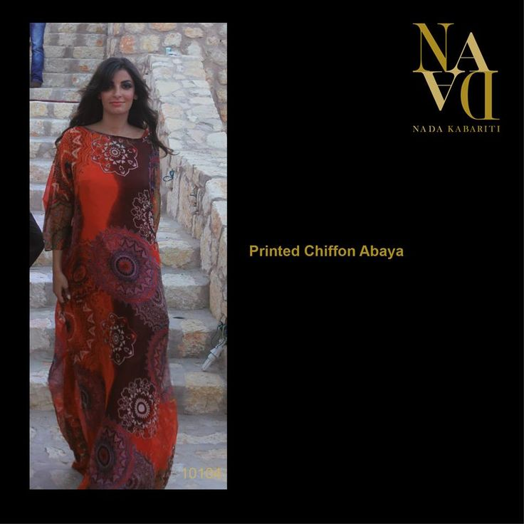Printed Chiffon Abaya designed by Nada Kabariti. For orders contact: Jordan: 00962795086955 KSA & Bahrain: 00966597798178 Facebook: www.facebook.com/...