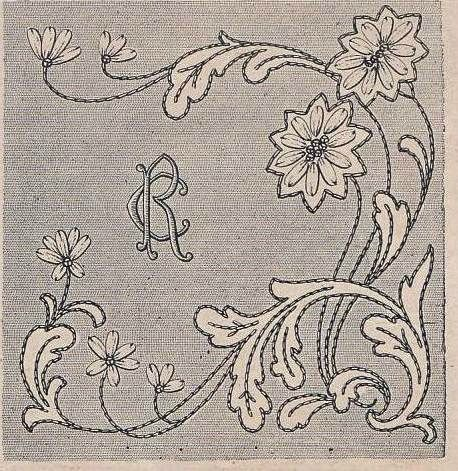 Pattern: Leaves and flowers, corner or end drawer, NICE