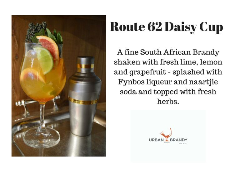 Route 62 Daisy Cup -  25ml Oude Molen 100 Reserve Brandy,  20ml Naartjie syrup (mandarin), 12,5ml Wilderer Fynbos liqueur or Honeybush liqueur,  1 Fresh lime wedge squeezed and dropped in glass,  1 Fresh lemon wedge squeezed and dropped in glass ,  1 Fresh grapefruit wedge squeezed and dropped in glass   *Stir all ingredients and top with soda. *Garnish: Fresh thyme, mint & sage with icing sugar dusting one slice of grapefruit.