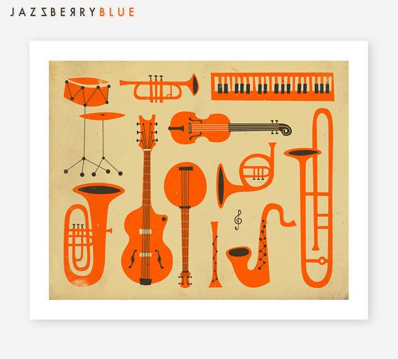 MUSICAL INSTRUMENTS of JAZZ Mid Century Modernism by JazzberryBlue, $22.00