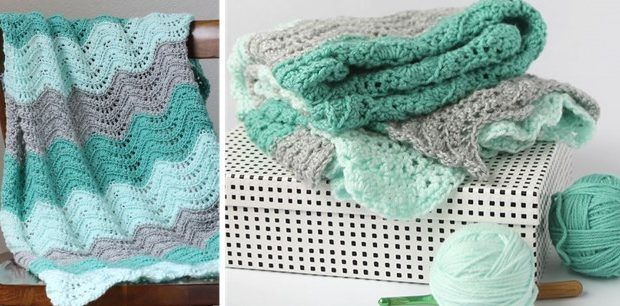 crocheted feather and fan baby blanket | the crochet space