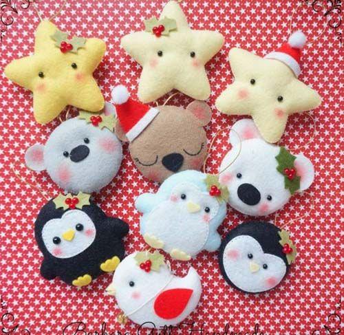 figuras navideas de fieltro para decorar arbol de navidad fieltro
