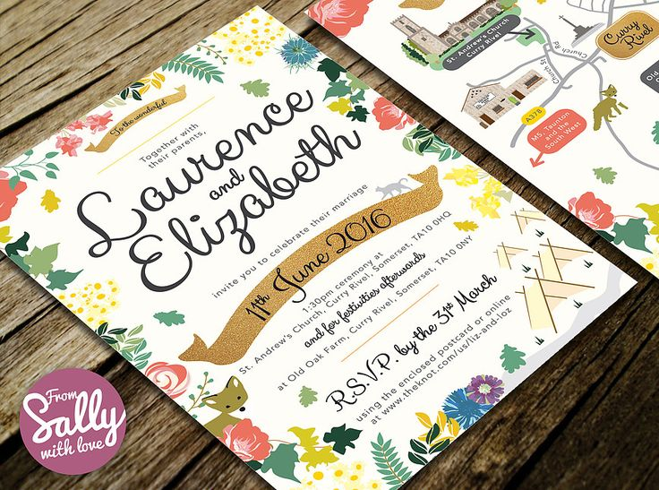 A fun wedding invitation for Lizzie and Laurence.   #bespoke #wedding #invitation #colourful #happy #flowers #floral #leaves #foliage #cat #fox #tents #festival #banner #handwrittenfonts #map #busy #illustrated #love #engaged #personalised #designer #A5  http://www.fromsallywithlove.co.uk