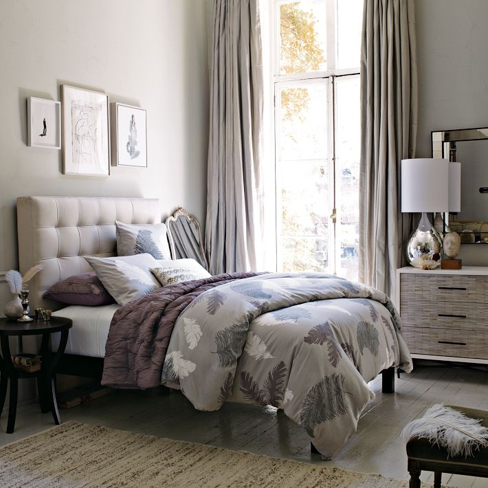 Really like.... WestElm Headboard and Lamp..: Westelm, Sugar Plum, Tufted Headboards, Colors,  Comforter, Quilts,  Puff, Bedrooms Ideas, West Elm