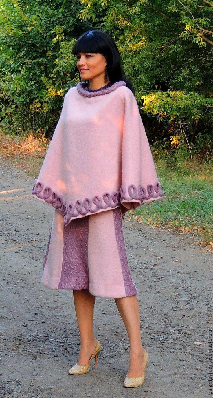 Купить Женский осенний костюм из шерсти и мохера (№59) - бледно-розовый, костюм женский