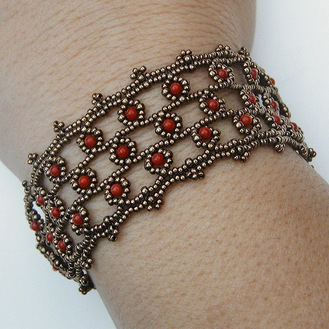 Beadwoven bracelet w/ coral and seed beads