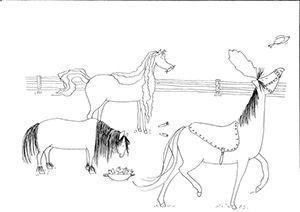kleurplaat Drie dappere paardjes