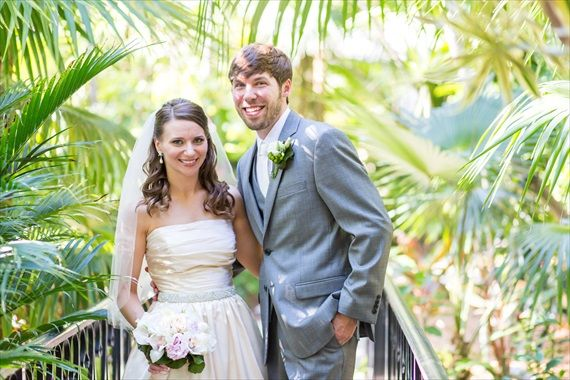 @emmalinebride featuring the wedding of Matthew and Morgan at the Hemingway House in Key West photo by Filda Konec Photography flowers by Mama Flowers cake by Key West Cakes hair by Key West Hair and Make-up caterer - Great Events Caketing