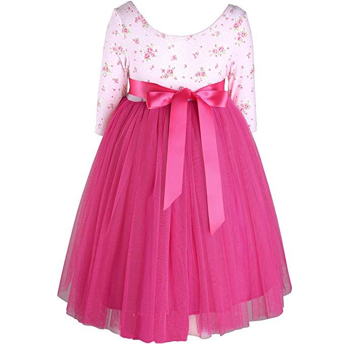 Flofallzique Girls Dress Long Sleeves Toddler Party Dress Girls Clothing for 1-12 Years Old