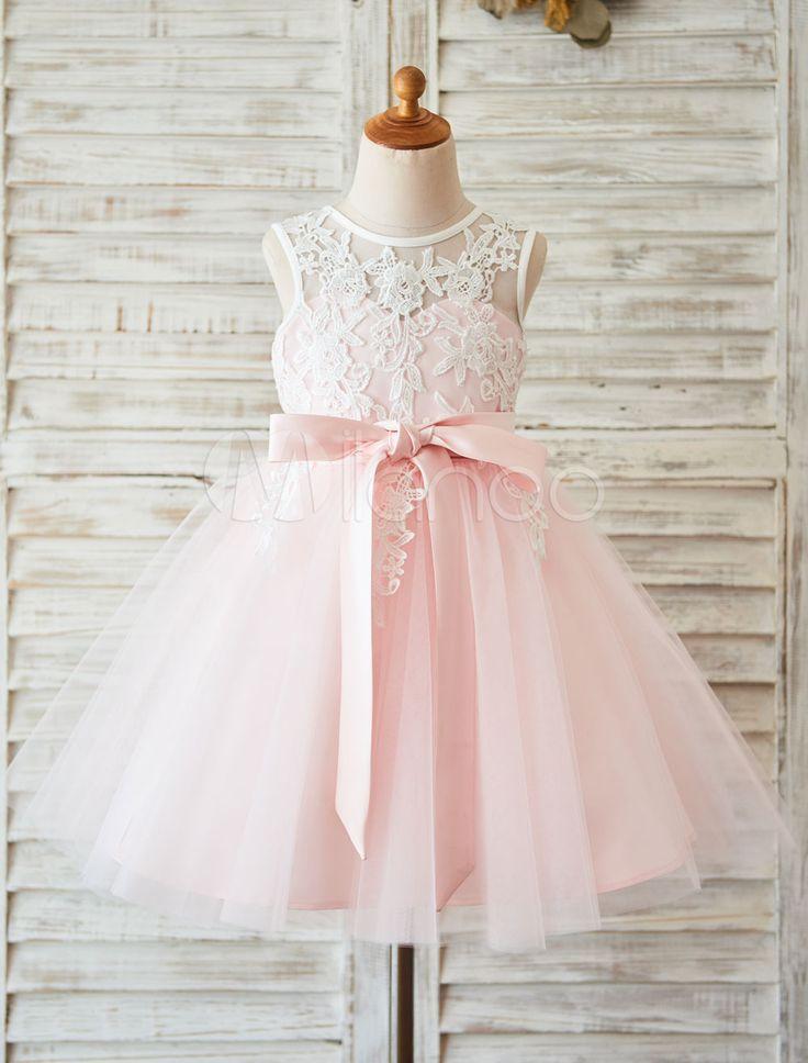 Tutu Blumenmädchen Kleid Ivory Spitze Prinzessin Kleinkind Festzug Kleid mit Band Schärpe