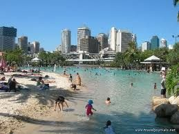 Brisbane, Australia - man made beach in the middle of the city.