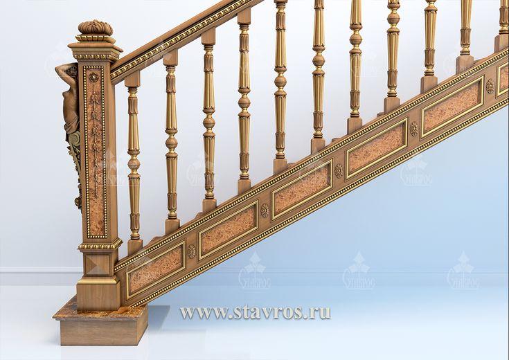Резная лестница RLE-009 - Фото - Ставрос