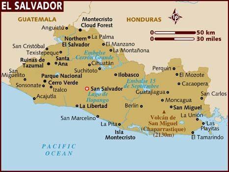 Map of El Salvador  Some major cities are San Salvado, Soyapango, San Miguel, Santa Ana. ect...