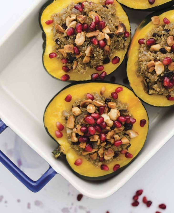 Vegan Thanksgiving Stuffing - Acorn Squash with Pomegranates and Quinoa - Red Barn Blog