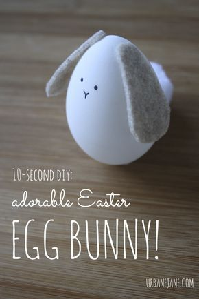 10-second DIY Easter egg-bunny. Easy craft to make with the kids! (They can personalize them too)
