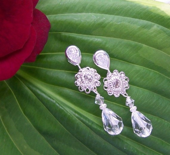 Hollywood Glamour Wedding Day Earrings by Saralibbey on Etsy, $30.00