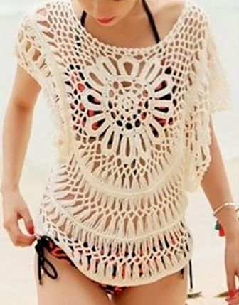 Love! Cute Crochet Lace Scoop Neck Women's Beach Fashion #Cute #Crochet #Lace #Womens #Beach #Fashion
