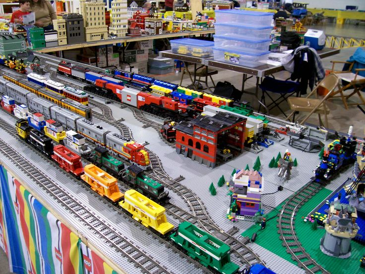Train yard. This picture was taken at the Bay Area LEGO Train Club show in November, 2005 at the Great Western & Atlantic Train Show at the Alameda County Fairgrounds in Pleasanton, CA. Photos by Bill Ward.