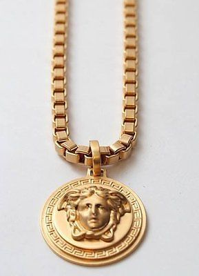 VERSACE MEDUSA JEWELRY 14k GOLD FINISH NECKLACE PENDANT CHAIN