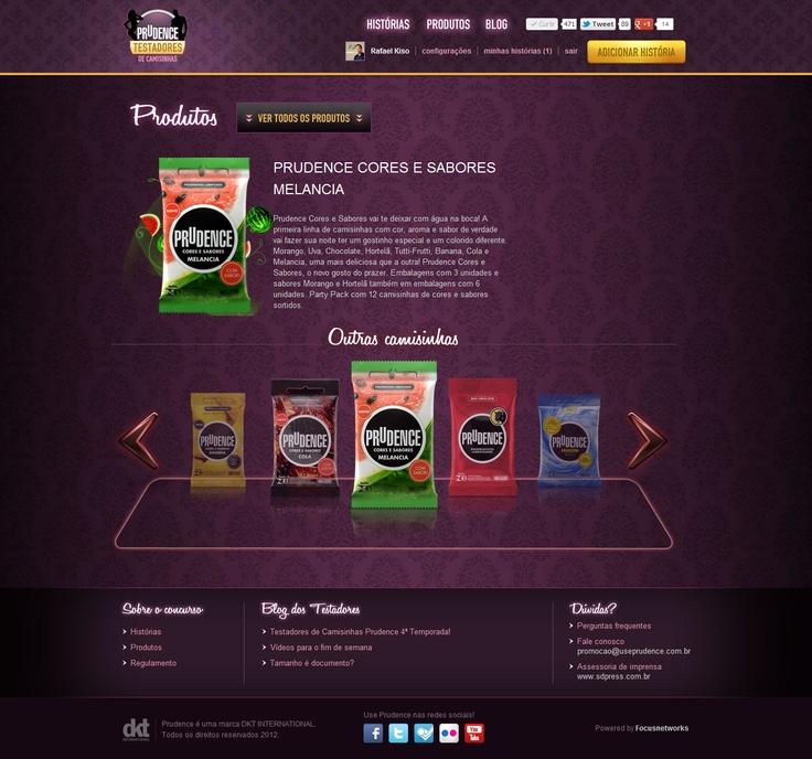 Página de Produtos do Hotsite Testadores de Camisinhas Prudence (2012)