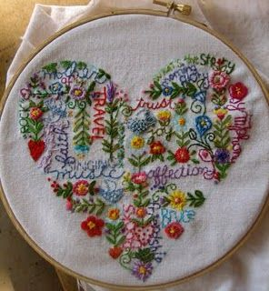Heart embroidery sampler