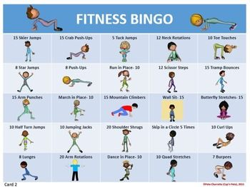 FITNESS BINGO- 30 DIFFERENT BINGO CARDS AND TEACHER TOOLS - TeachersPayTeachers.com                                                                                                                                                                                 More