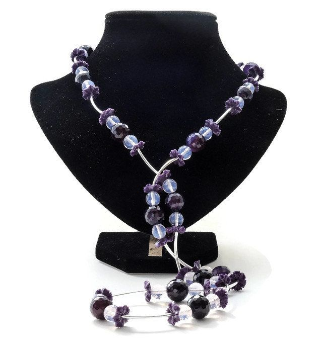 Purple pink amethyst necklace, handmade beadwork gemstone semi precious beads of amethyst, jade and silver, with a magnetic clasp - pinned by pin4etsy.com