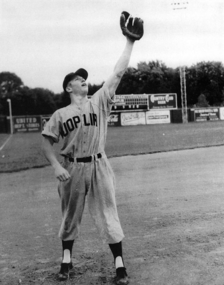 1950: A. 18 year old Mickey Mantle of the Joplin Miners works out before a 1950 game. Back then Mickey was a shortstop.