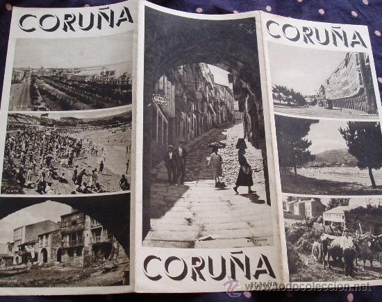 LA CORUÑA Circa 1930´s Triptico DESPLEGABLE con FOTOS * Antiguo folleto turistico - Foto 1
