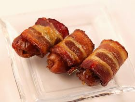 I Run For Wine: Chorizo Filled Dates Wrapped in Bacon  Took to a gathering and a huge hit!