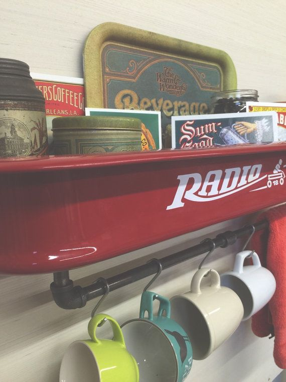 Red Radio Flyer Wagon Shelf Large by ThePrimitiveProgress on Etsy
