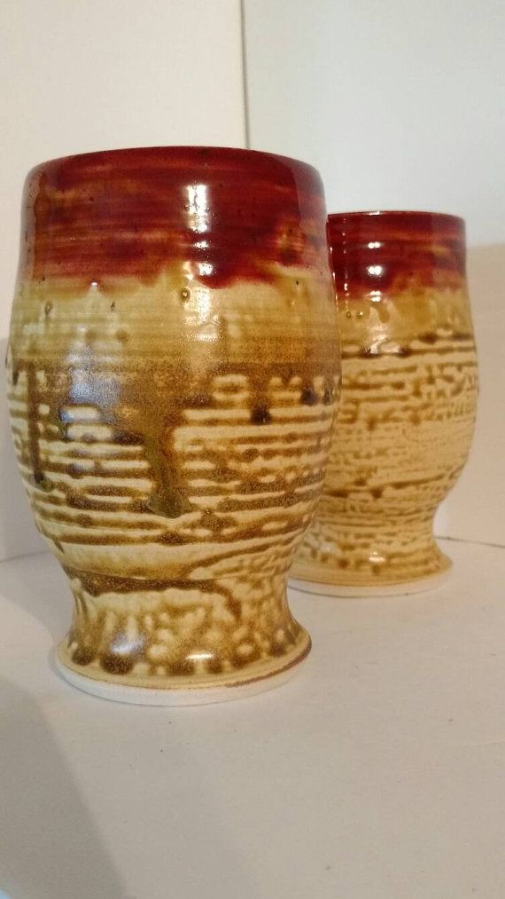 Pair of beer glasses goblets brickred and salt by AngelaNGraham
