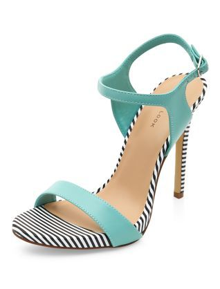 Mint Green Stripe Trim Ankle Strap Heels | New Look