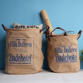 Mediterranean  linen/jute  laundry basket /  toy picnic dirty clothes storage basket / desk organizer / cesto de roupa suja