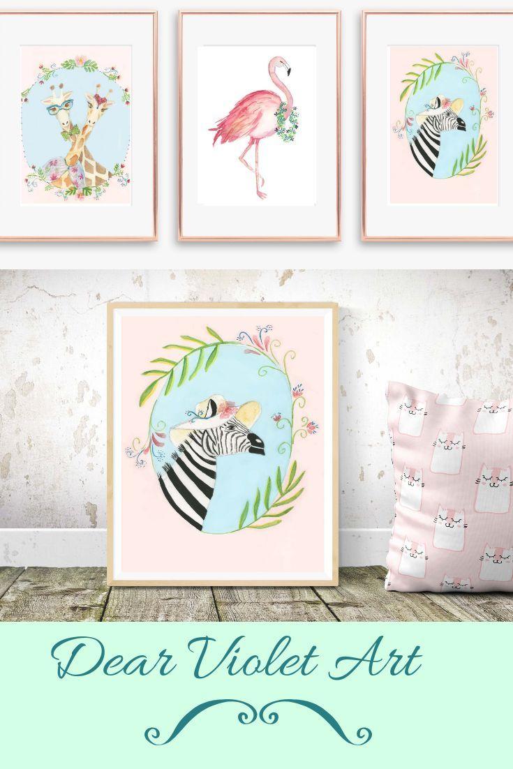 Zebra print, nursery decor, girls nursery print, girl room print ...