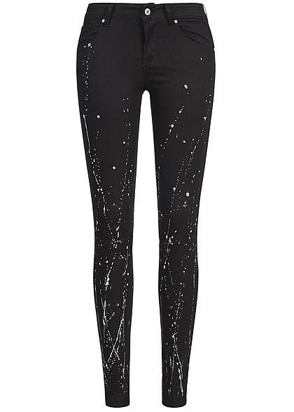 Seventyseven Lifestyle Hose Damen Jeans Splatter Muster 5-Pockets schwarz Seventyseven Lifestyle Hosen | 77onlineshop im Online Shop preiswert kaufen