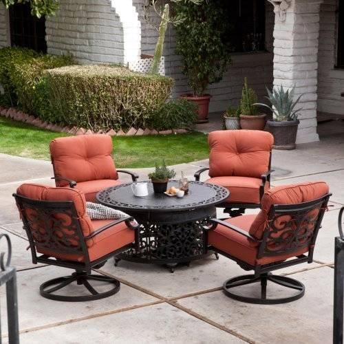 5 Piece Patio Lounge Dining Set With Gas Fire Pit Outdoor