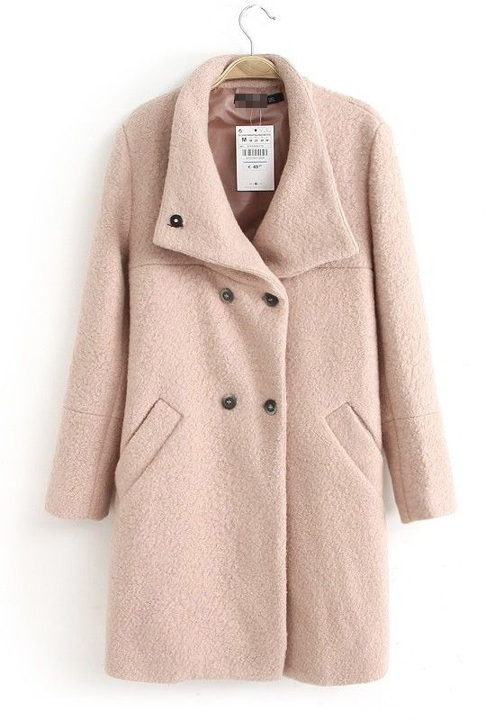 ++ pink plain double breasted turndown collar wool coat