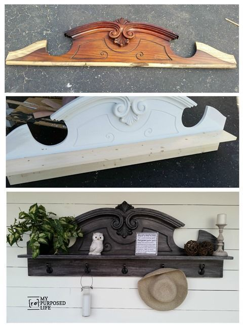 How to turn a china hutch top or pediment into a useful coat rack shelf. Tips for an easy DIY and more. MyRepurposedLife.com
