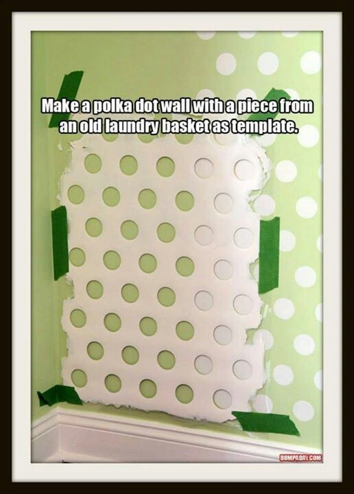use old laundry basket to paint design on wall