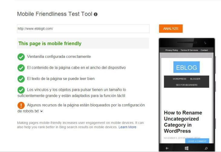 bing mobile frindly Test