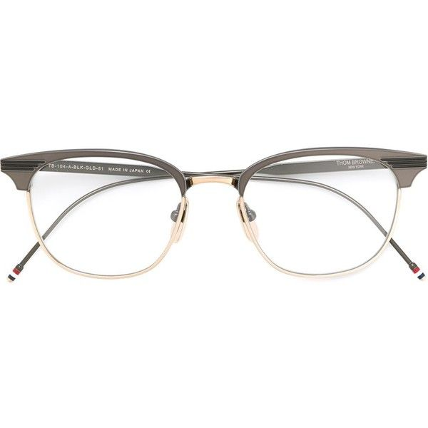 Thom Browne retro frame glasses (19,305 MXN) ❤ liked on Polyvore featuring accessories, eyewear, eyeglasses, black, titanium eyeglasses, thom browne eyewear, retro eyewear, thom browne glasses and thom browne