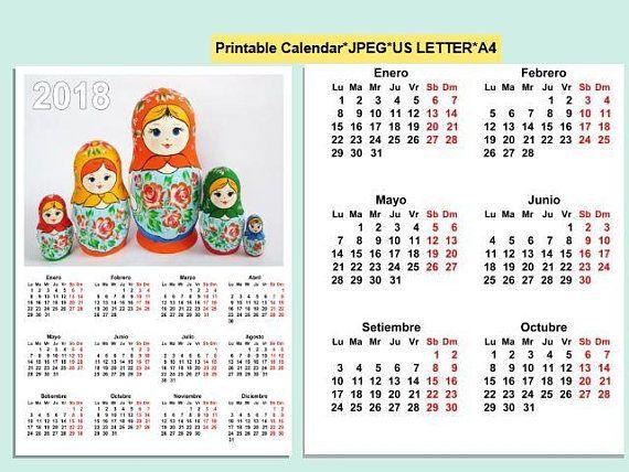 2018 Calendar Matryoshka Nesting Doll Printable Digital agenda 2018 imprimible español PDF Printable english,italian,spanish wersions.