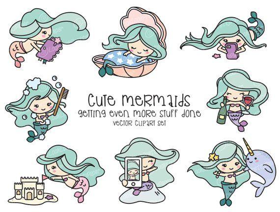 Premium Vector Clipart Kawaii Mermaid Cute Mermaid Clipart Etsy Mermaid Clipart Cute Mermaid Vector Clipart