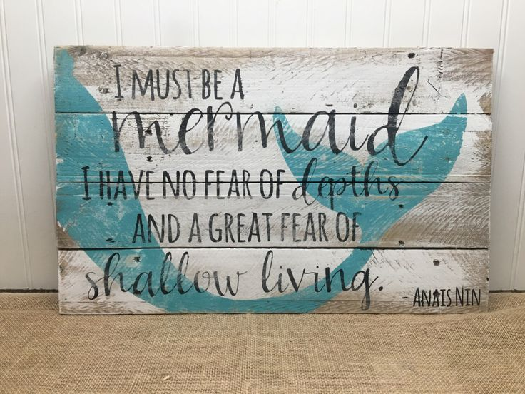 Rustic Pallet Wall Art - Mermaid Sign - Wood Wall Sign - Gifts for Her - Beach House Decor - Nautical Gifts - Ocean Seaside Signs - Mermaid by MrsSBarefootStudio on Etsy https://www.etsy.com/listing/450794458/rustic-pallet-wall-art-mermaid-sign-wood