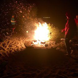 Dockweiler Beach - Playa Del Rey, CA, United States. And the burning of the Christmas tree....