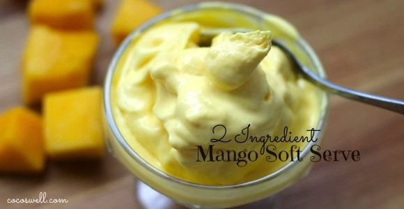 2 ingredient mango soft serve-dairy free and refined sugar www.cocoswell.com