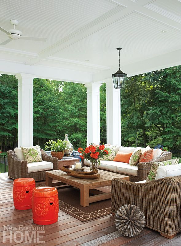 The views beyond this open porch may play the starring role, but the gorgeous outdoor space is a strong 'supporting actor'.